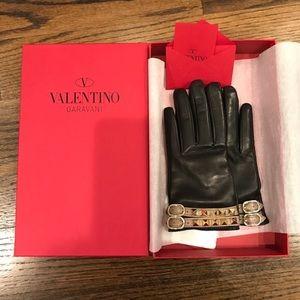 valentino rockstud Napa leather cashmere gloves